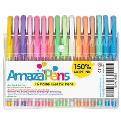 16 Pastel Gel Pens - 150% More Ink