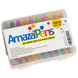 AmazaPens Gel Coloring Pen Set - 20 MINI Pack -Glitter and Glitter Neon Medium Tip Superior Quality Great Present for any Adult or Kid Who Loves To Draw or Color Ideal for Holiday Travel