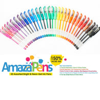 30 Primary Bright & Neon Gel Pens - 150% More Ink