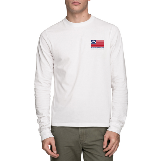 Barracuda American Flag UV Performance Mens L/S Shirt | Barracuda Tackle | Florida Fishing Tackle MFG. CO.
