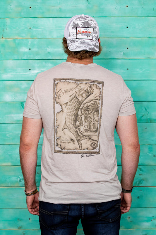 Barracuda Tarpon Map Mens Short Sleeve Cotton T-Shirt | Barracuda Tackle | Florida Fishing Tackle MFG. CO.