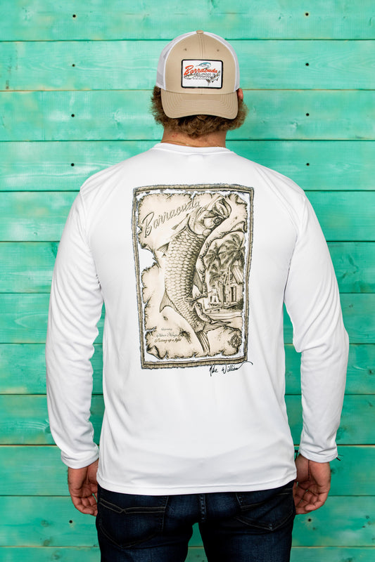 Barracuda Tarpon Map Mens UV Performance L/S Shirt | Barracuda Tackle | Florida Fishing Tackle MFG. CO.