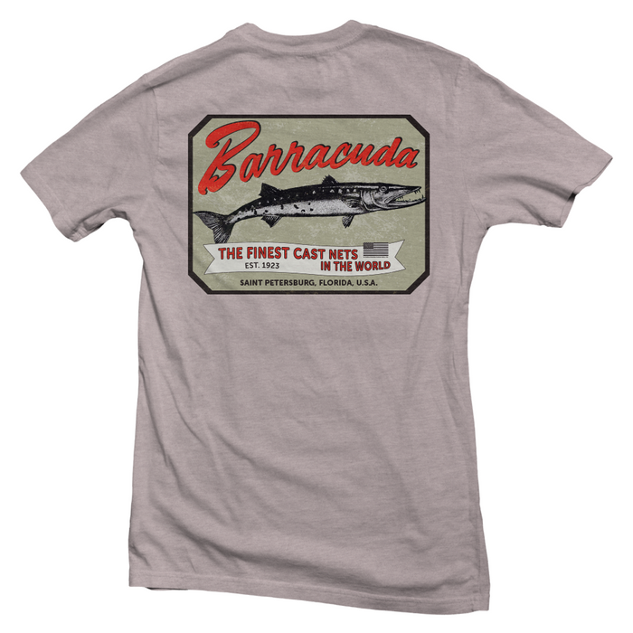 Vintage Barracuda Label Cotton Mens Short Sleeve T-Shirt | Barracuda Tackle | Florida Fishing Tackle MFG. CO.