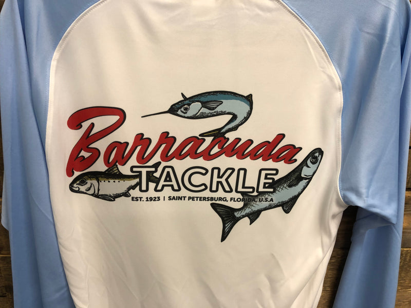 Barracuda Mens Triple Fish White and Blue UV Performance L/S Shirt