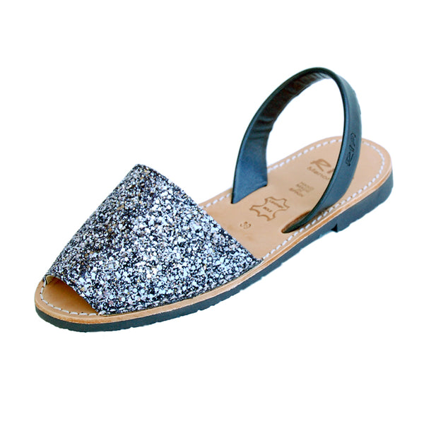 Avarcas Glitter Menorcan Sandals Joan in Charcoal Gunmetal