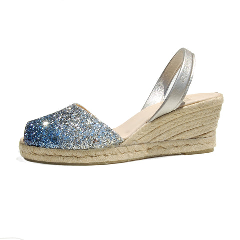 Avarcas Glitter Wedge Espadrilles Lluna in Bluemoon