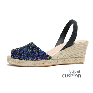 Ria Avarcas Espadrille Wedge Opal Glitter Sideview C