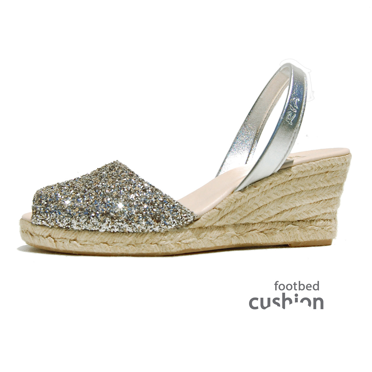 Ria Avarcas Espadrille Wedge Pewter Glitter Sideview C.jpg
