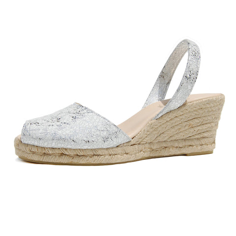 Foro Wedge Avarcas Espadrilles in Silver White