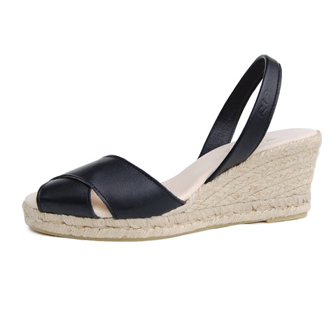 Isla Avarcas Wedge Espadrilles in Black