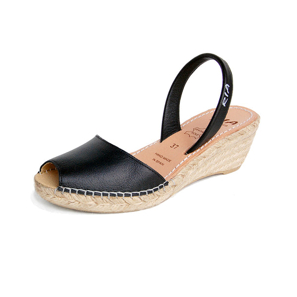 Avarcas Wedge Espadrilles Bosc in Black