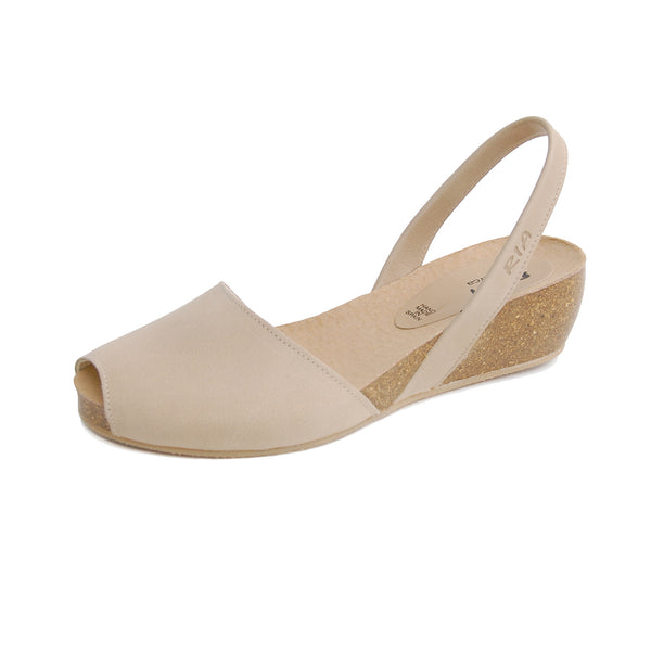 Avarcas Cork Wedge Cardona in Beige