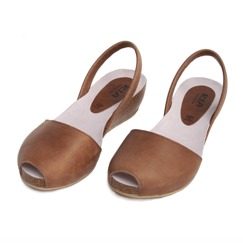 Cardona leather wedge sandals in chestnut | Leather wedge