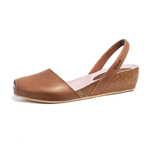 Avarcas Cork Wedge Cardona in Chestnut Tan