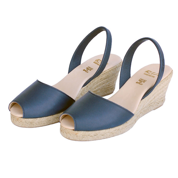 Avarcas Wedge Espadrilles Foro in Navy