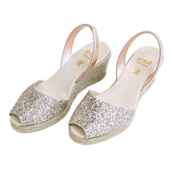 Avarcas Glitter Wedge Espadrilles Lluna in Rose Gold
