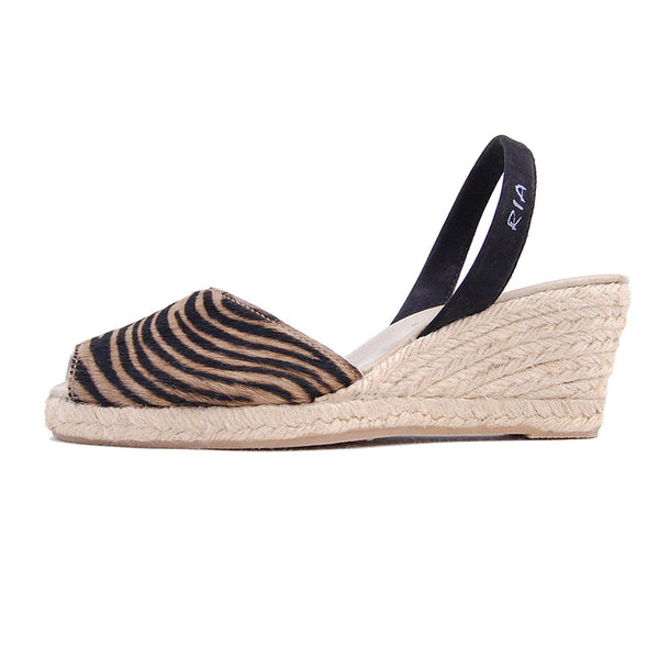 Ria Menorca Espadrille from Spain in animal print brown shoe