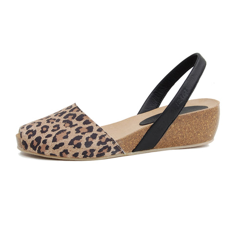 Avarcas Cork Wedge Cardona in Leopard