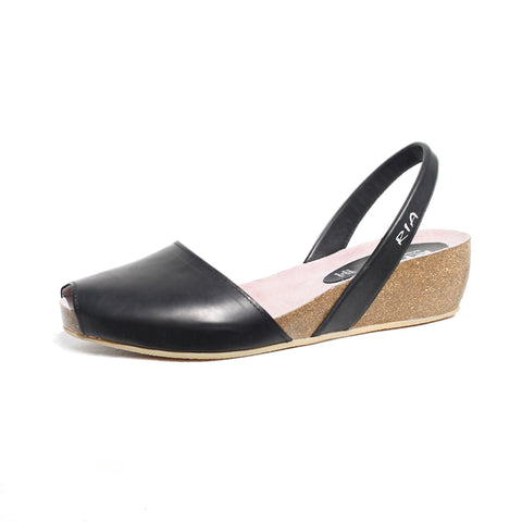 Avarcas Cork Wedge Cardona in Black