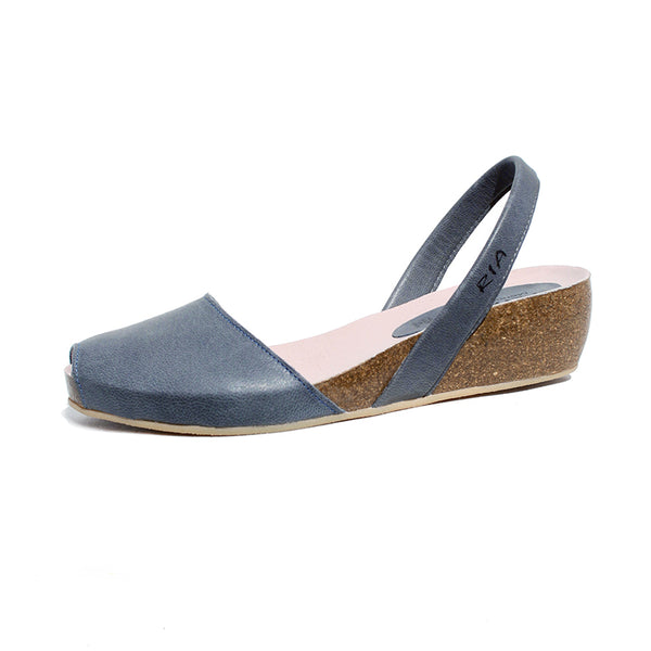 Avarcas Cork Wedge Cardona in Denim Blue