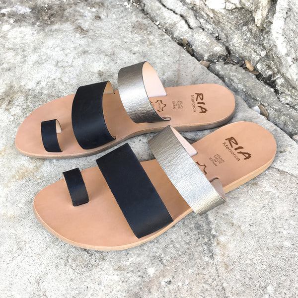 Rico Spanish Slides in Silver and Black