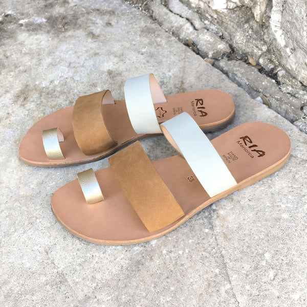 Rico Spanish Slides in White and Camel