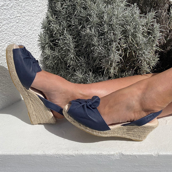 Alba Avarcas Wedge Espadrilles in Navy
