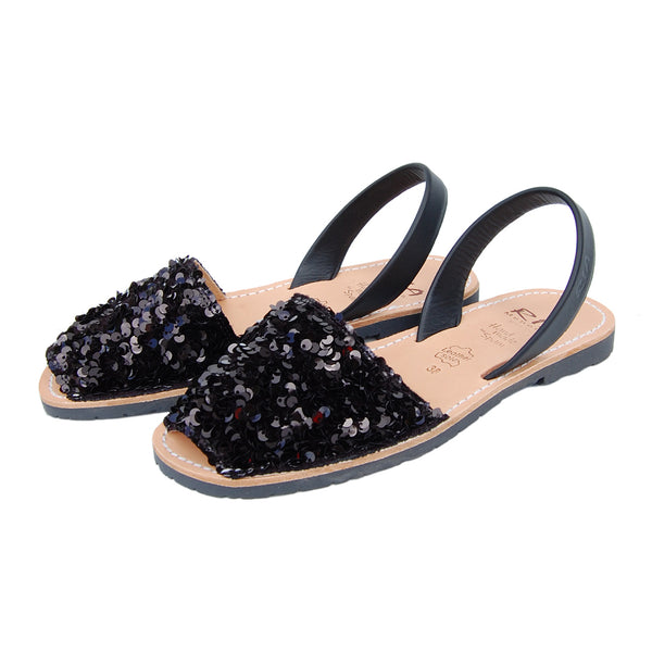 Luces Avarcas Sequins Menorcan Sandals in Black