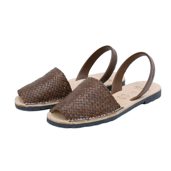 ria menorca flats abarcas chocolate brown braided