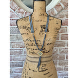 Delta Blues Gemstone Beaded Ceramic Tassel Necklace-Angela Wood Designs