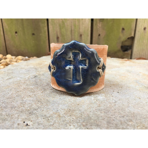 Hope Pottery Cross Leather Cuff-cuff-Angela Wood Designs