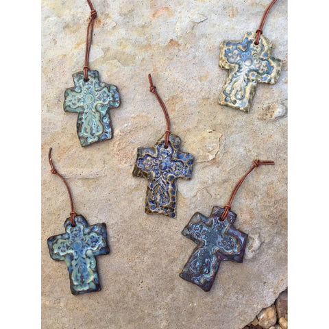 Inspirations Pottery Cross Ornament-ornament-Angela Wood Designs