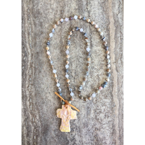 Serendipity Pottery Cross Necklace-Necklace-Angela Wood Designs
