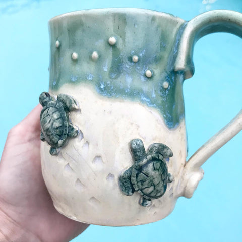 Steps to the Sea Turtle Mugs - Angela Wood Designs