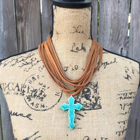 Taos Pottery Cross Necklace-Necklace-Angela Wood Designs
