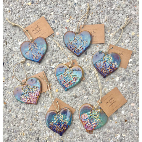 Watercolor Pottery Heart Ornament-ornament-Angela Wood Designs