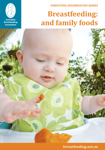 Breastfeeding and Family Foods Booklet cover