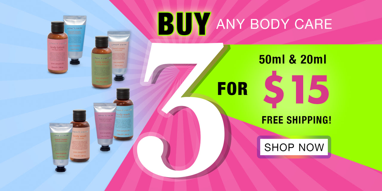 buy any three body care 50ml and 20ml for $15