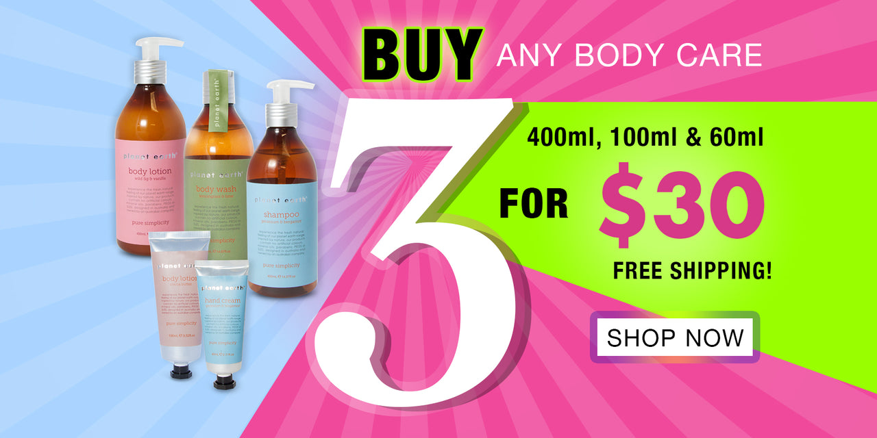 buy any three body care 400ml 100ml and 60ml for $30