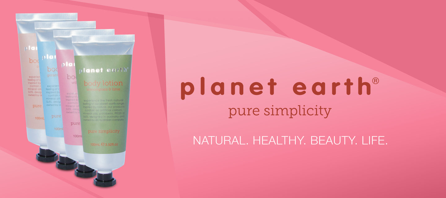 body lotions by planet earth in four fragrances 100ml tubes