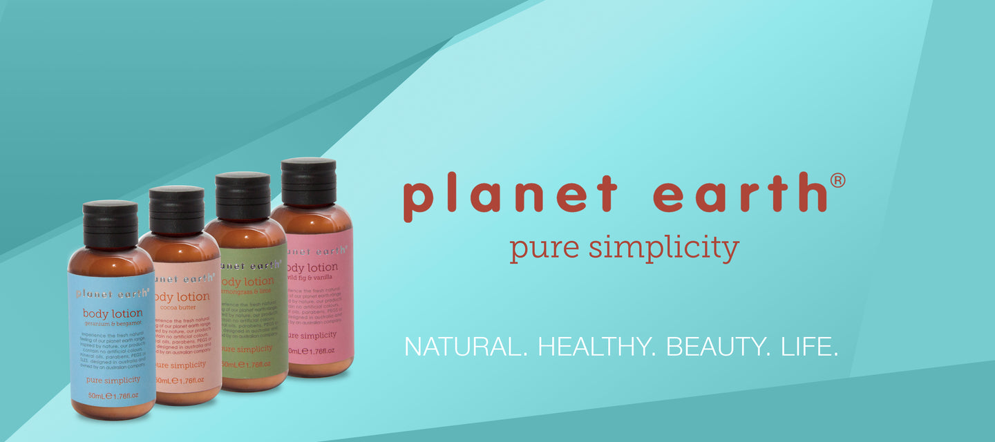 body lotions by planet earth in four fragrances 50ml mini bottles
