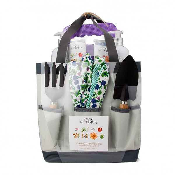 luxury gardening bag and tools with utopia hand care bottles and tubes