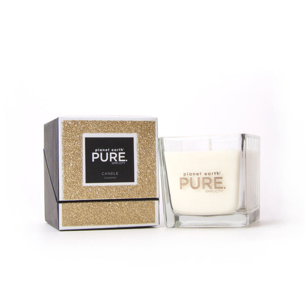 Small Square gold glitter candle box and glass jar caramel scented pure