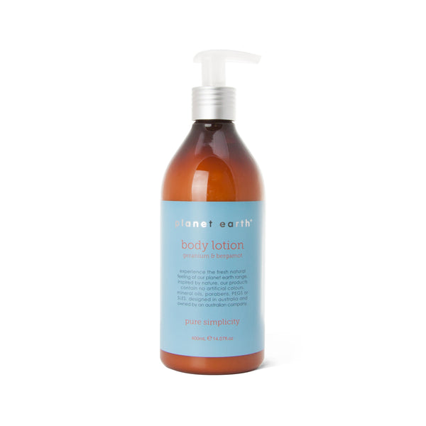 400ml Body Lotion - Geranium & Bergamot - The Grain Shop Online Store