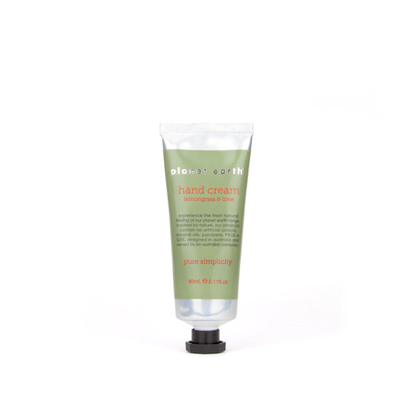 hand cream 60ml tube lemongrass and lime by planet earth