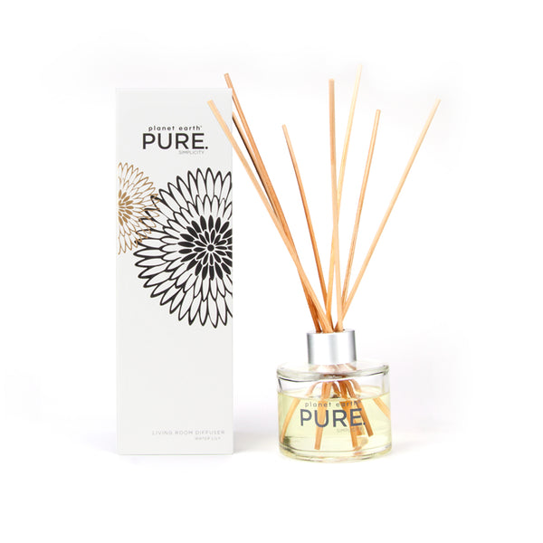 glass home diffuser Water Lily perfume Pure white package with bottle and reed