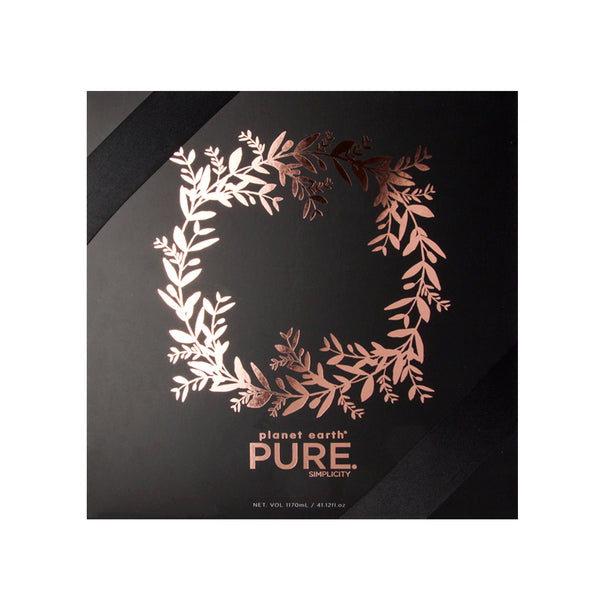 pure deluxe Christmas body care collection logo foiled  front black box