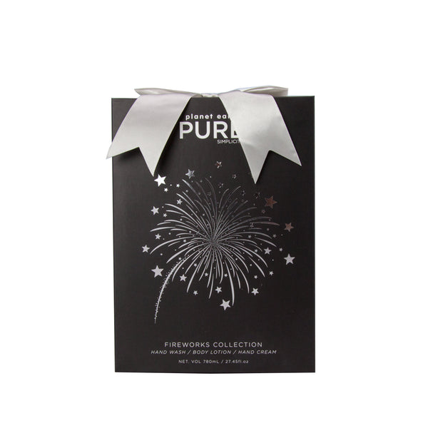 pure fireworks body care gift collection foiled logo on front black box