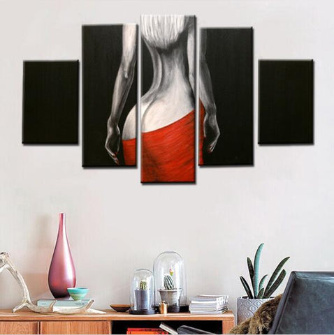 Abstract Sexy Girl Back Oil Beauty   5 Piece Canvas Wall Art