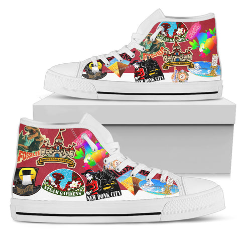 Super Mario Odyssey Stickers -Women's High Top Canvas Shoe